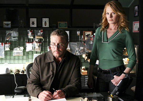 William Petersen and Marg Helgenberger in CSI: Crime Scene Investigation