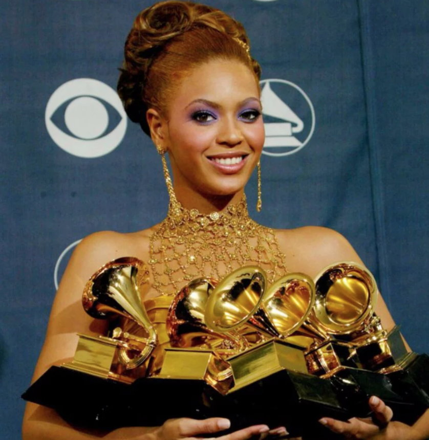 Beyoncé with some of her Grammys